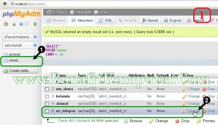 Mengubah Nama Kolom Tabel di MySQL dengan phpMyAdmin