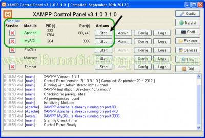 Menjalankan Servis Apache dan MySQL dari XAMPP Control Panel