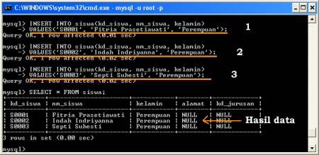 Perintah SQL Untuk Memasukkan Data ke Database MySQL