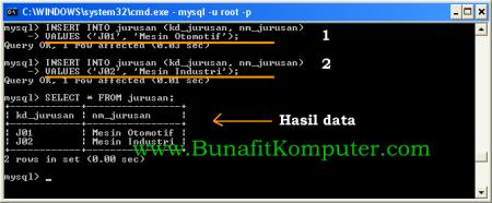 Perintah SQL Untuk Menyimpan Data ke Tabel MySQL
