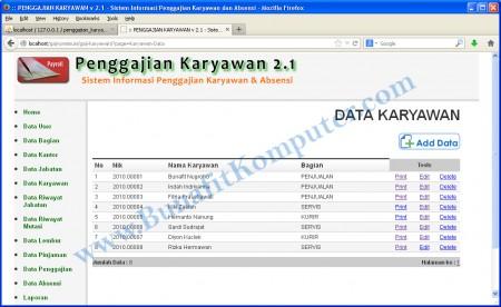Program Aplikasi Penggajian dan Absensi - Halaman Program Manajemen Data Karyawan