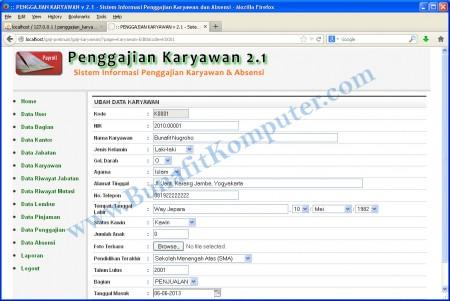 Program Aplikasi Penggajian dan Absensi - Halaman Program Tambah dan Ubah Data Karyawan