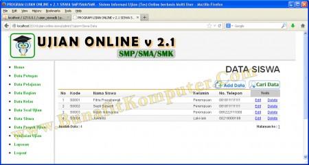 Program Manajemen Data Siswa (Tambah, Edit, Delete dan Cari), dilengkapi dengan fasilitas Cari Siswa
