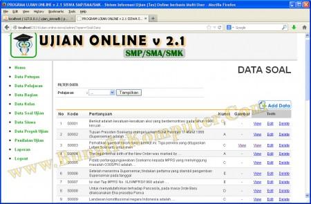 Program Manajemen Data Soal Ujian. Soal dapat berupa Teks saja, ataupun Teks dan Gambar