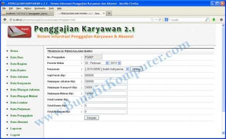 Tampilan Program Transaksi Penggajian Karyawan