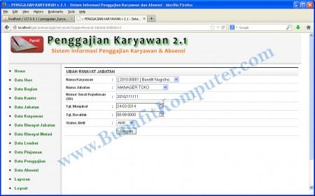 Tampilan Program Aplikasi Penggajian - Halaman Tambah Data Riwayat Jabatan