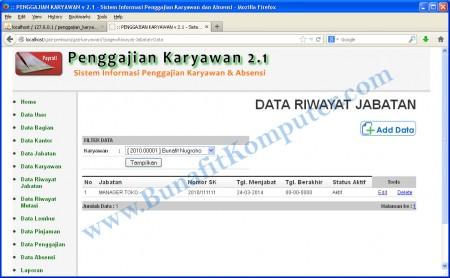 Tampilan Program Aplikasi Penggajian - Halaman Tampil Data Riwayat Jabatan
