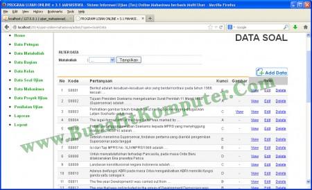 Tampilan Program Manajemen Data Soal Ujian. Soal dapat dilengkapi dengan Gambar