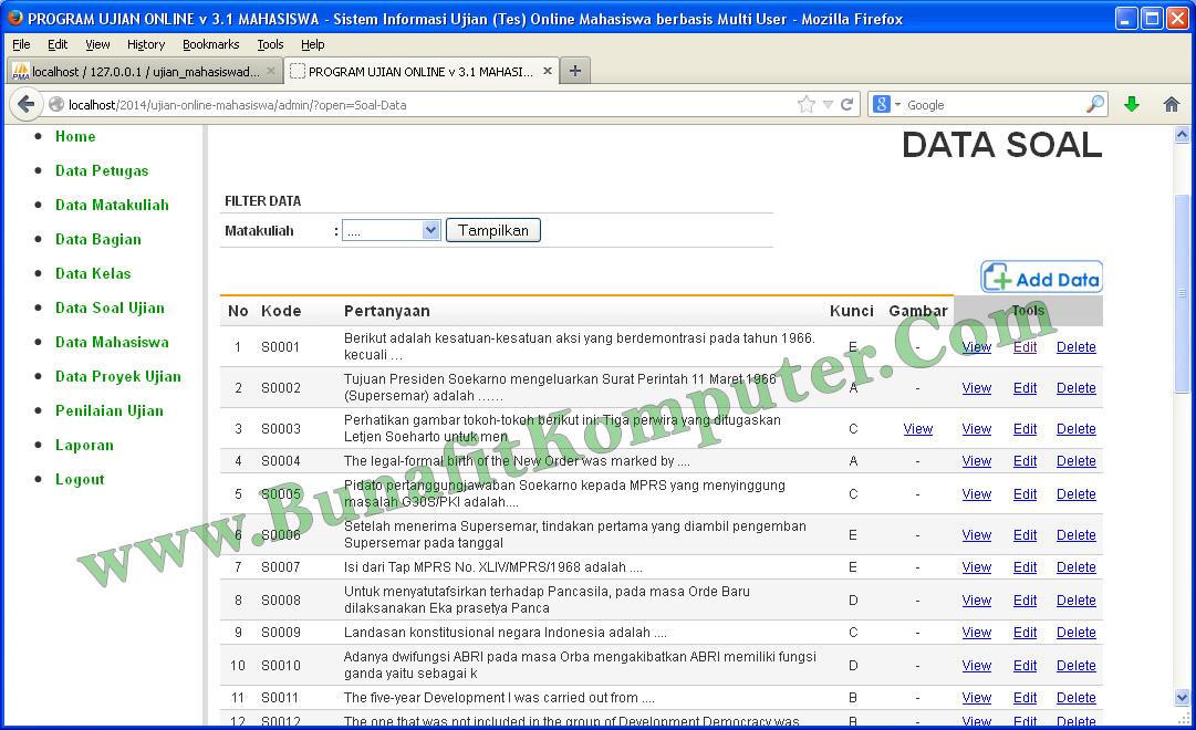 Source Code Ujian Online Php Bunafit Komputer