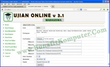 Tampilan Program Simpan Tambah Data Soal Ujian