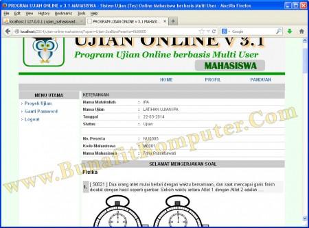 Website Ujian Online - Halaman Lembar Kerja Ujian Online dengan Soal Pilihan Ganda