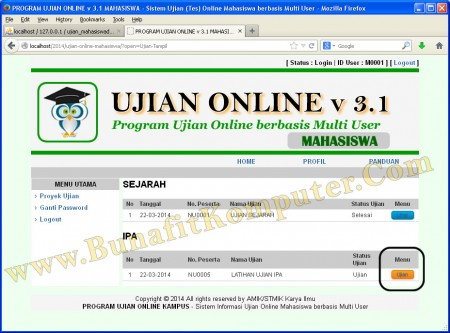 Website Ujian Online Menampilkan Daftar Ujian yang Diadakan Kampus