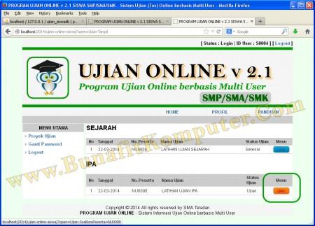 Website Siswa Setelah Login, Tapilan Daftar Proyek Ujian, ditampilkan Ujian yang sudah Selesai dan masih Berlangsung.