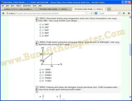 Halaman Ujian Online Siswa, Soal Teks dan Soal Gambar dengan Jawaban Pilihan Ganda