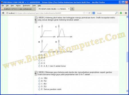Website Ujian Online - Soal Ujian ditampilkan dalam Soal Teks dan Soal Gambar