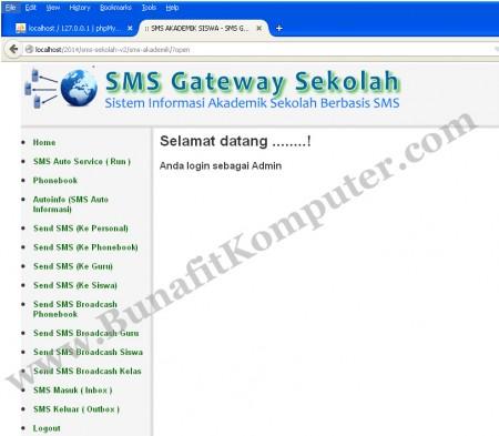 SMS Akademik Sekolah Berbasis Web PHP dan Gammu