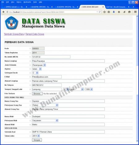 Program Manajemen Data Siswa pada Sistem Informasi Akademik Sekolah Berbasis Web dengan PHP MySQL