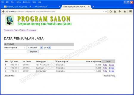Manajemen Transaksi Penjualan Jasa Salon berbasis PHP MySQL