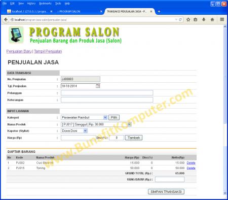 Transaksi Penjualan Jasa Salon berbasis Web PHP MySQL