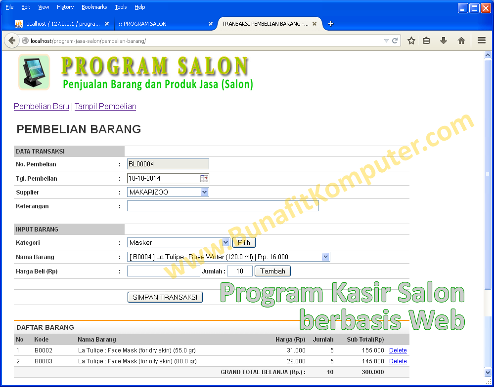 Program Salon Sistem Informasi Salon Kecantikan Dan
