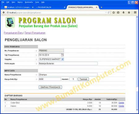 Transaksi Pengeluaran untuk Jasa Salon