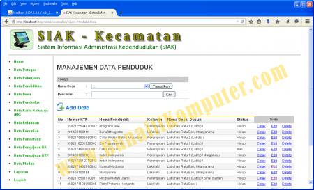 Sistem Informasi Administrasi Kependudukan (SIAK) Berbasis Web dengan PHP MySQL