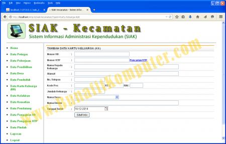 Tambah Data Kartu Keluarga (KK) pada Sistem Informasi Kependudukan Berbasis Web