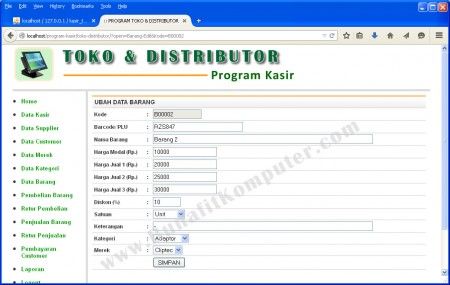 Halaman Program untuk Tambah dan Ubah Data Barang