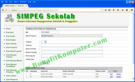 Contoh Program Aplikasi Sistem Informasi Kepegawaian Berbasis Web