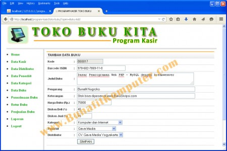 Form Tambah dan Edit Data Buku  - Sistem Informasi Penjualan Buku pada Toko Buku Berbasis Web