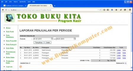 Laporan Data Transaksi Penjualan per Periode Tanggal