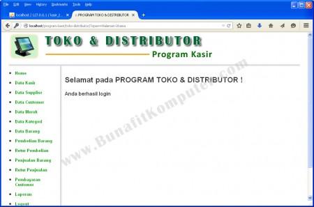 Menu Utama Program Aplikasi Toko dan Distributor berbasis Web