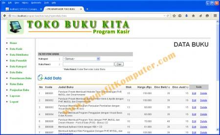 Program Manajemen Data Buku - Sistem Informasi Penjualan Buku pada Toko Buku Berbasis Web
