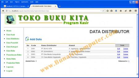Program Manajemen Data Distributor pada Program Aplikasi Kasir Toko Buku Berbasis PHP dan MySQL