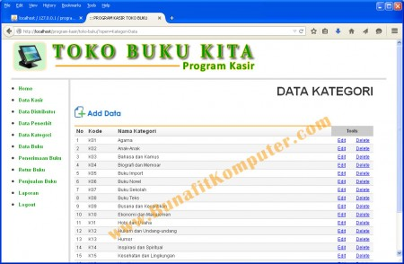 Program Manajemen Data Kategori pada Program Aplikasi Kasir Toko Buku Berbasis Web