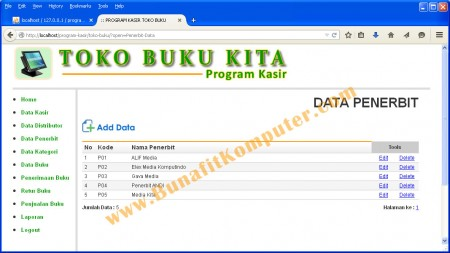 Program Manajemen Data Penerbit pada Program Aplikasi Kasir Toko Buku Berbasis Web