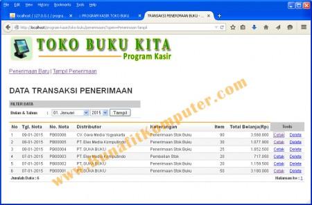 Program Manajemen Transaksi Penerimaan ( Pembelian ) Buku dari Distributor