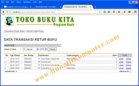 Program Manajemen Transaksi Retur Buku