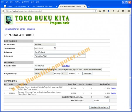 Program Transaksi Kasir Penjualan Buku kepada Konsumen, support dengan Barcode Reader
