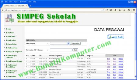 Sistem Informasi Kepegawaian Berbasis Web PHP dan MySQL