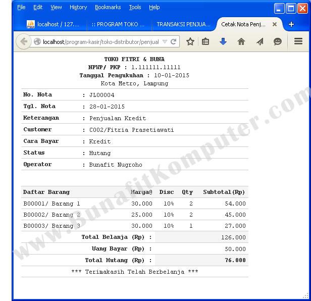 Sistem Informasi Toko Dan Distributor Berbasis Web Dengan