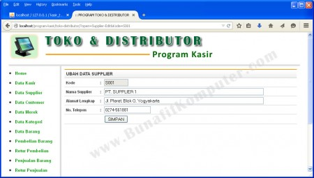 Program Tambah dan Ubah Data Supplier