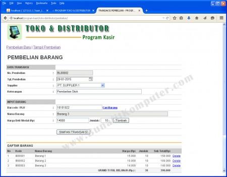 Transaksi Pembelian Barang, support dengan Barcode Reader untuk memasukkan data Barang ke Form
