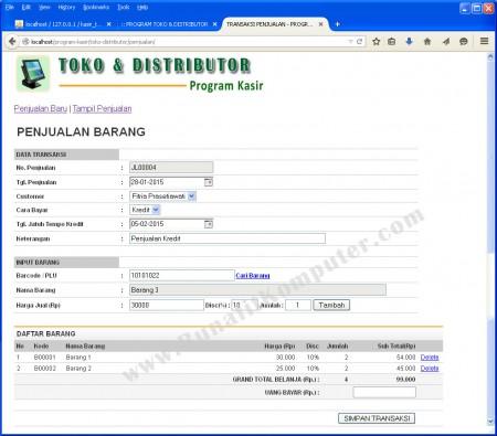 Transaksi Penjualan Tunai dan Kredit kepada Pelanggan. Untuk memasukan data Barang, dapat menggunakan Barcode reader untuk membaca data kode barang.