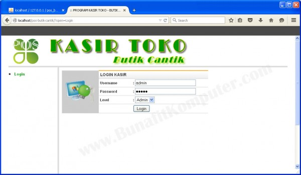 Form Login Kasir / User