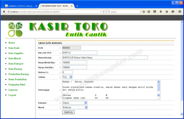 Form Tambah dan Ubah Data Barang
