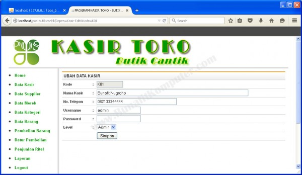 Form Tambah dan Ubah Data Kasir/ User
