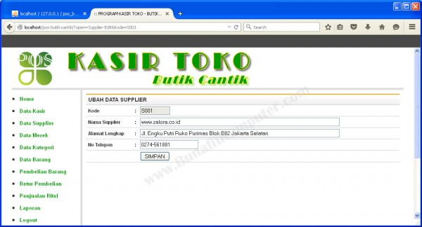 Form Tambah dan Ubah Data Supplier