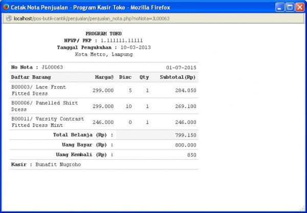 Halaman Nota Penjualan dengan PHP dan MySQL