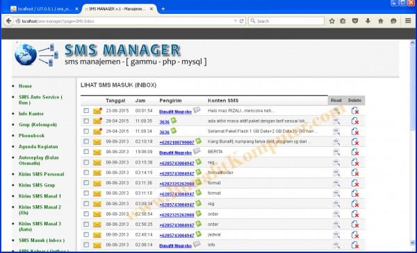 Halaman SMS Inbox, digunakan untuk menampilkan Semua SMS Masuk yang diterima oleh Nomor Modem